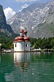 Chapel of St. Bartholomae, Lake Koenigssee, Berchtesgaden, Bavaria, Germany, Berchtesgaden
