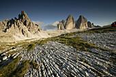 Tre Cimo di Lavaredo (3100m) and Paternkofel, Dolomiti di Sesto Natural Park, Dolomites, Italy