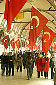 "Turkish flags in the indoor market ""kapali"", Istanbul, Turkey"