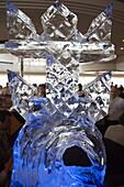 Royal Caribbean Logo Ice Sculpture in Viking Crown Lounge,Freedom of the Seas Cruise Ship, Royal Caribbean International Cruise Line