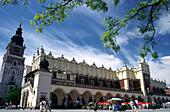 Market Square in Cracow, Cloth Hall (14th - 19th century), Gothic Town Hall tower, Cracow, Poland