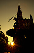 The Neptun Fountain at sunset, a symbol of Gdansk, built in 1633, gdansk, Danzig, Poland