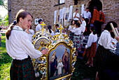 Preparing for the Procession for Corpus Christi in Spicimierz near Lodz, Poland