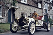 Lord Folkes-Halbart driving in his 1907 Mercedes-Benz near Eastbourne, East Sussex, England