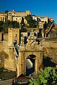 Tajo river and bridge,Puente de Alcantara,Toledo,Castilla-La Mancha,Spain