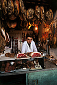 Ham vendor,Mercado Abastos,Market hall,Lugo,Galicia,Spain