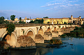 Townscape with Puente Romano, Roman bridge, Rio Guadalquivir, Guadalquivir River, Historic Centre of Cordoba, Cordova, Andalusia, Spain