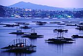 Townscape with Mussel floats, Vigo, Ria de Vigo, Rias Baixas, Province of Pontevedra, Galicia, Spain