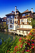 "Houses along the River Lauch in""Petite Venise"" in Colmar,Elsass,France"