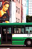 Bus and advertisement next to Viru-Center, downtown Tallinn, Estonia