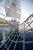The Star Clipper bowsprit net, Caribbean Sea