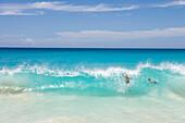 Wave breaking on the beach,Mullet Bay, St. Maarten, Netherlands Antilles
