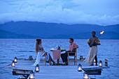 Romantic Dinner on Pier,Jean-Michel Cousteau Resort, near Savusavu, Vanua Levu, Fiji