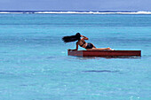 Wind-Blown Hair,Bathing Platform near Muri Beach, Rarotonga, Cook Islands
