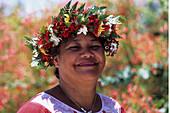 Polynesian Woman with Flower Headdress,Raiatea, French Polynesia
