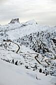 Winding road at Passo Pordoi, Dolomites, Italy