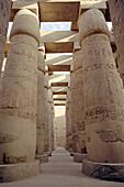 Shady row of columns at the Karnak Temple, Luxor, Egypt