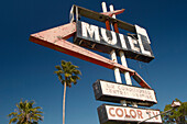 Damaged Sign of Motel in Mims, Florida, USA