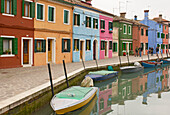Canal and houses on Burano, Italy