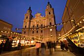 Christmas market at Cathedral Square, Salzburg, Austria