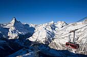 Rothorn Bahn going downhill, Matterhorn (4478 m) in background, Zermatt, Valais, Switzerland
