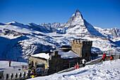 View to Gornergrat station near Kulmhotel, the highest hotel in the Swiss Alps (3100 m) at Gornergrat, Matterhorn (4478 m) in background, Zermatt, Valais, Switzerland