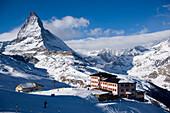 View to Hotel Riffelberg (2582 m), Matterhorn (4478 m) in background, Zermatt, Valais, Switzerland
