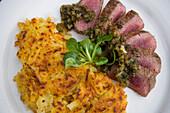 """Zum See's Special: filet of lamb """"Provençale"""" with Rösti, Restaurant zum See, Zum See, Zermatt, Valais, Switzerland"""