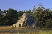 Borie, stone hut in idyllic landscape, Luberon, Vaucluse, Provence, France, Europe
