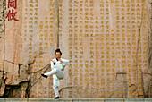 Chinese man exercising, Tai Shan, China, Asia