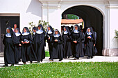 Benedictine nuns in Frauenchiemsee Abbey, Bavaria, Germany