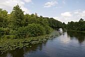 Waterlilies & Houseboat,River Dahme , near Zernsdorf, Brandenburg, Germany