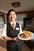 Victoria Cruises Waitress with Happy Hour Appetizers,Aboard the MV Victoria Queen, Yangtze River, China