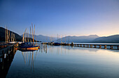Landing stage in Gmund at lake Tegernsee with sailing boats and view to Wallberg and Setzberg, Bavarian Alps, Upper Bavaria, Bavaria, Germany