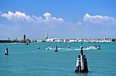 View of Venice from the lagoon, Venice, Venezia, Italy