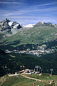 Upper station of a chair lift to Alp Languard with view to St. Moritz and Piz Julier, Upper Engadin, Grisons, Switzerland