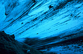 Ice of glacier from the bottom against daylight with marks of movement, Hallstaetter Gletscher, Upper Austria, Austria