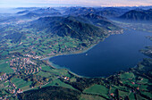 Aerial picture from a hot air balloon to Gmund and lake Tegernsee, Bavarian alps, Upper Bavaria, Bavaria, Germany