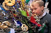 Young boy with a decorated branch of catkin, Palm Sunday, Reit im Winkl, Chiemgau, Upper Bavaria, Bavaria, Germany
