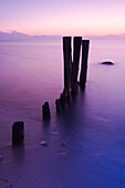 Groyne on beach in sunset light, Baltic Sea, Schleswig-Holstein, Germany