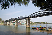 View to the River Kwai Bridge, built by prisoners of World War II of the Japanese, Kanchanaburi, Thailand