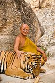 Abbot Phra Acharn Phoosit Khantidharo with a tiger, Wat Pa Luangta Bua Yannasampanno Forest Monastery, Tiger Temple, Kanchanaburi, Thailand