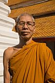 Portrait of a Buddhist monk, Wat Mahathat, Ko Ratanakosin, Bangkok, Thailand