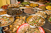 A selection of chinese food, Chinatown, Bangkok's oldest residentail and business district, Bangkok, Thailand