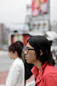 young people in front of the famous Laforet building, shopping, fashion, Meji-dori, Harajuku, Tokyo, Japan
