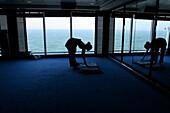 gym, exercises, Yoga, young woman, ocean view, cruise ship MS Delphin Renaissance, Cruise Bremerhaven - South England, England