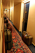 alleyway, aisle, baggage, cruise ship MS Delphin Renaissance, Cruise Bremerhaven - South England, England
