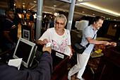 boarding, security check, cruise ship MS Delphin Renaissance, Cruise Bremerhaven - South England, England