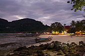 View over the beach with restaurants in the evening, Ko Phi Phi Don, Ko Phi Phi Island, Krabi, Thailand, after the tsunami