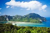 View to Ao Lo Dalam and Ao Ton Sai from Viewpoint, Ko Phi Phi Don, Ko Phi Phi Island, Krabi, Thailand